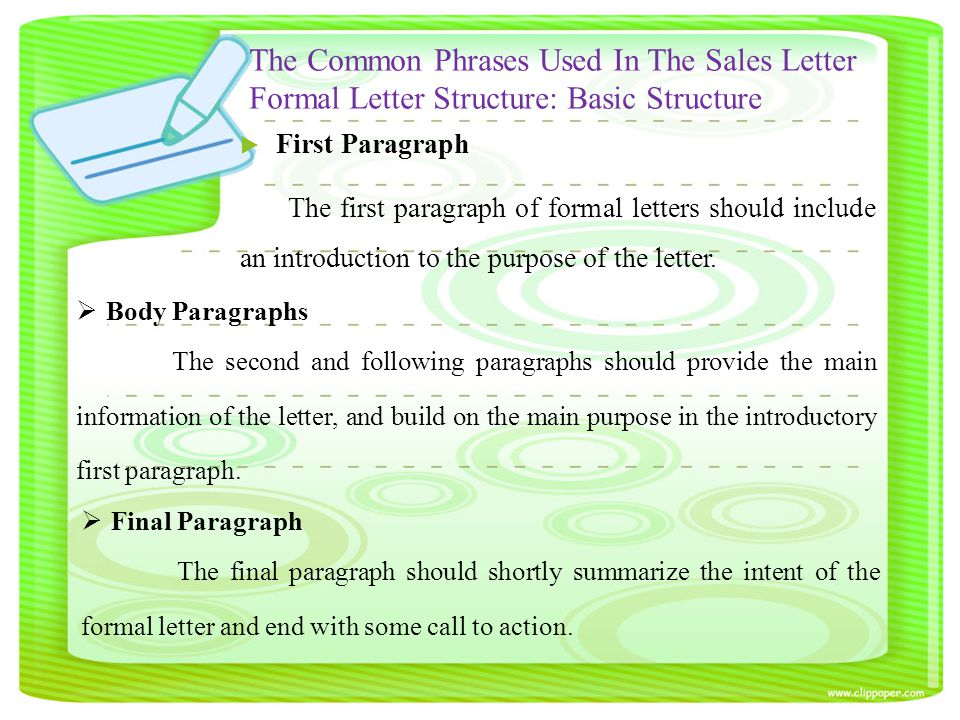 the common phrases used in the sales letter formal letter structure basic structure