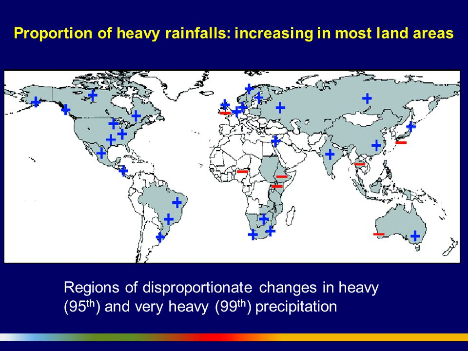 Proportion of heavy rainfalls: increasing in most land areas