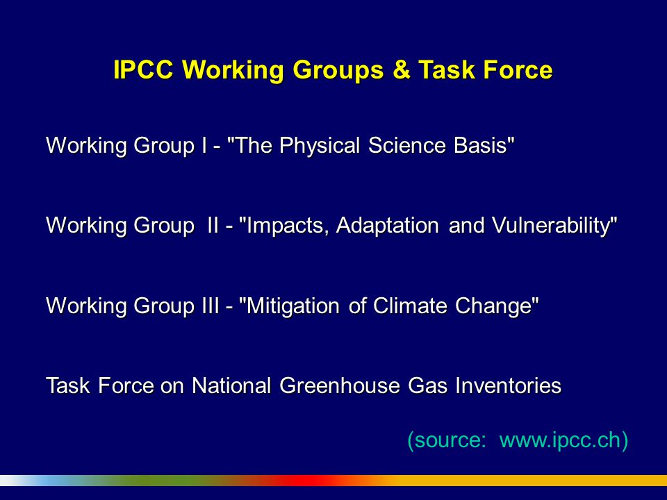 IPCC Working Groups & Task Force