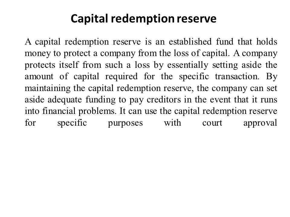 Capital redemption reserve