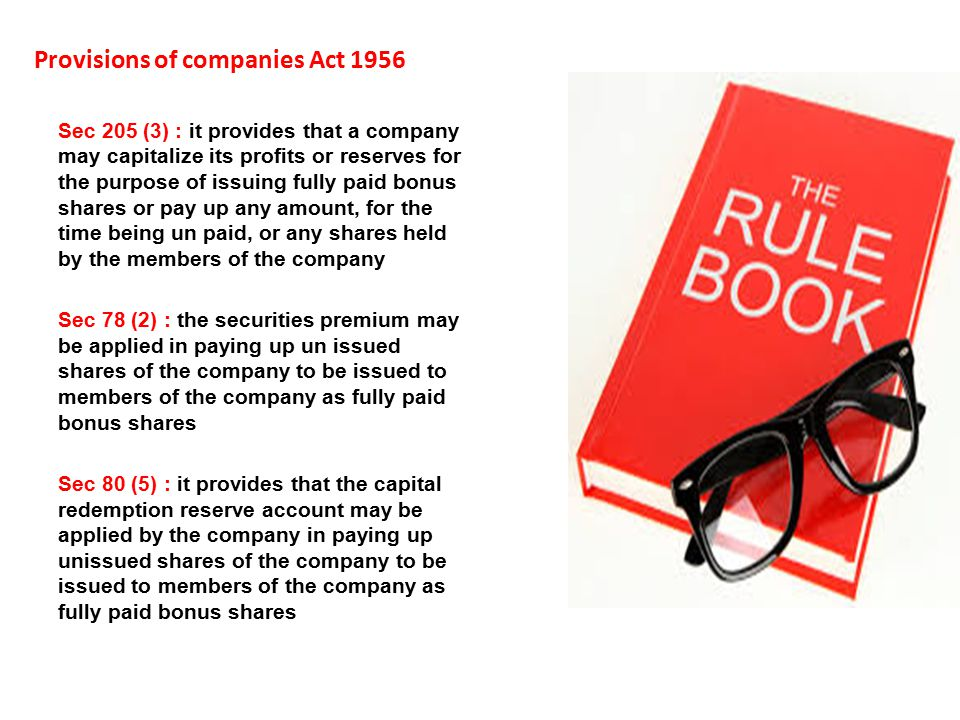Provisions of companies Act 1956