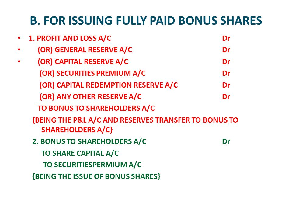 B. FOR ISSUING FULLY PAID BONUS SHARES