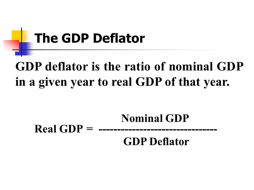 The GDP Deflator GDP deflator is the ratio of nominal GDP in a given year to real GDP of that year.