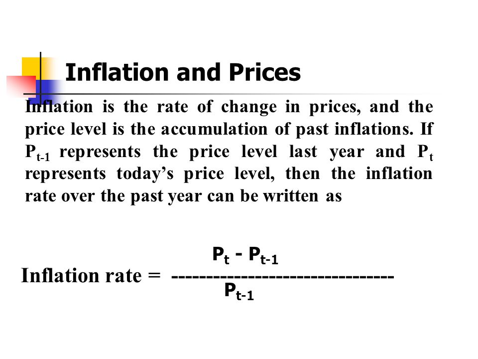 Inflation and Prices Inflation rate =