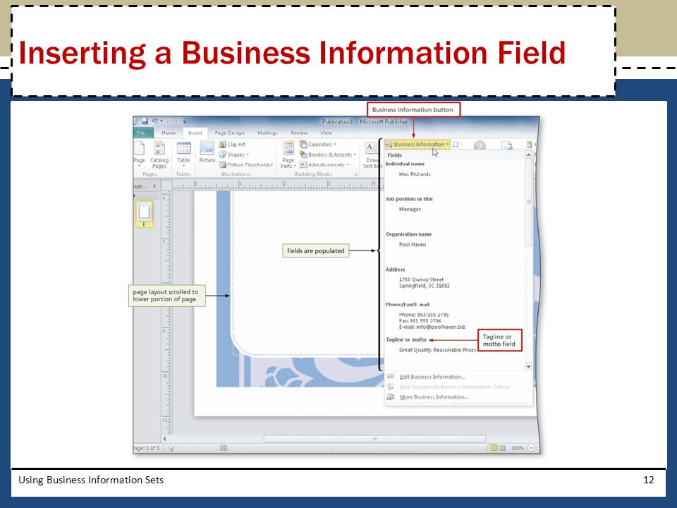 Inserting a Business Information Field