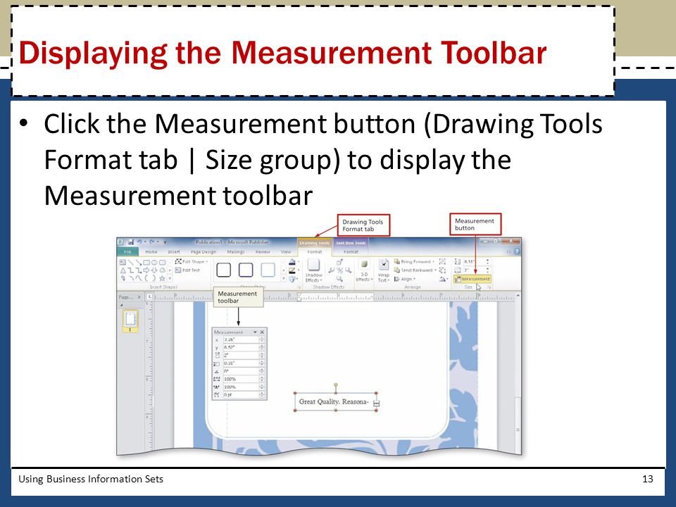 Displaying the Measurement Toolbar