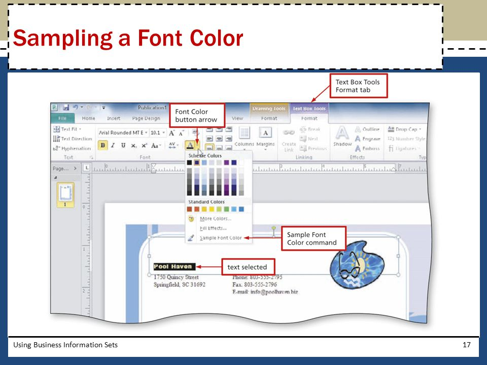 Sampling a Font Color Using Business Information Sets