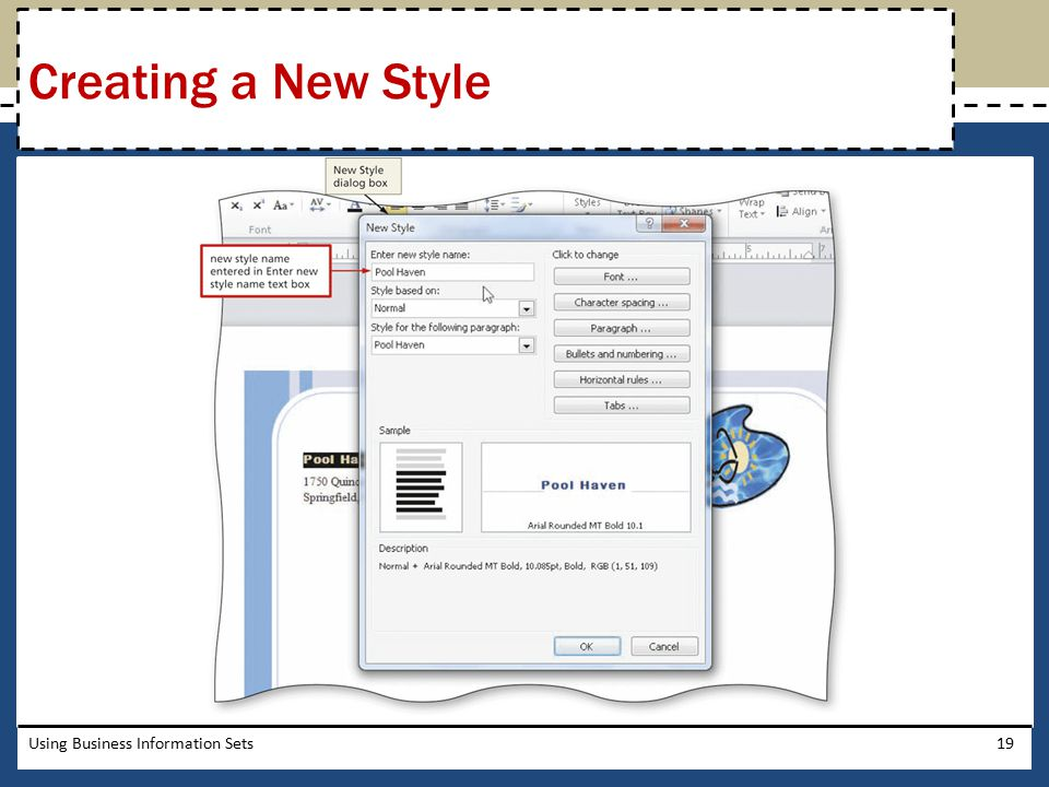 Creating a New Style Using Business Information Sets