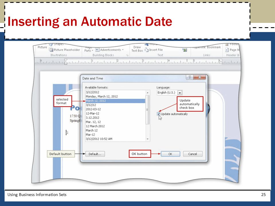 Inserting an Automatic Date