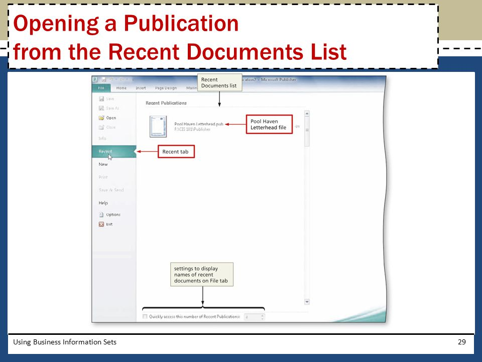 Opening a Publication from the Recent Documents List