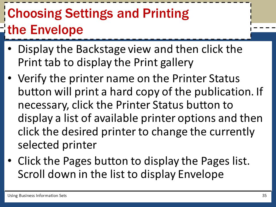 Choosing Settings and Printing the Envelope