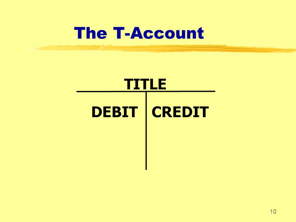 The T-Account TITLE DEBIT CREDIT