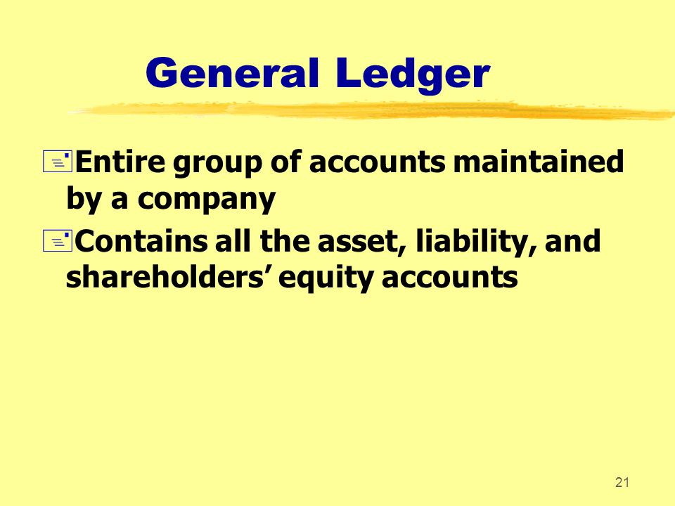 General Ledger Entire group of accounts maintained by a company