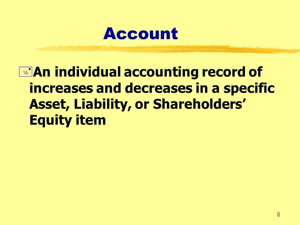 Account An individual accounting record of increases and decreases in a specific Asset, Liability, or Shareholders' Equity item.