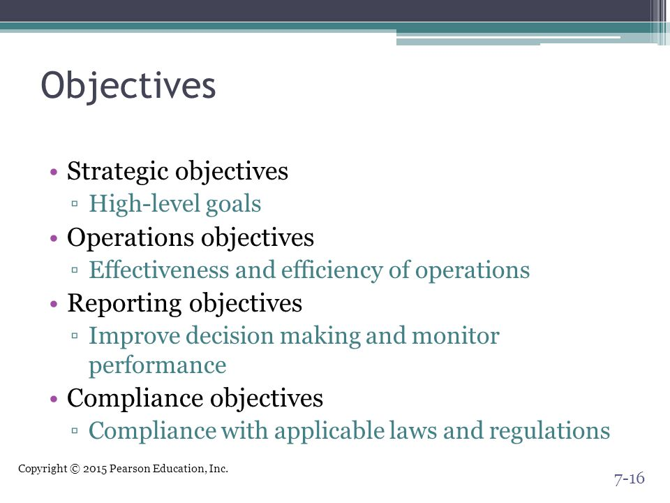 Objectives Strategic objectives Operations objectives