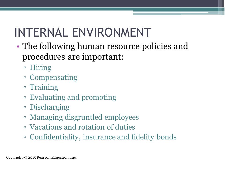 INTERNAL ENVIRONMENT The following human resource policies and procedures are important: Hiring. Compensating.