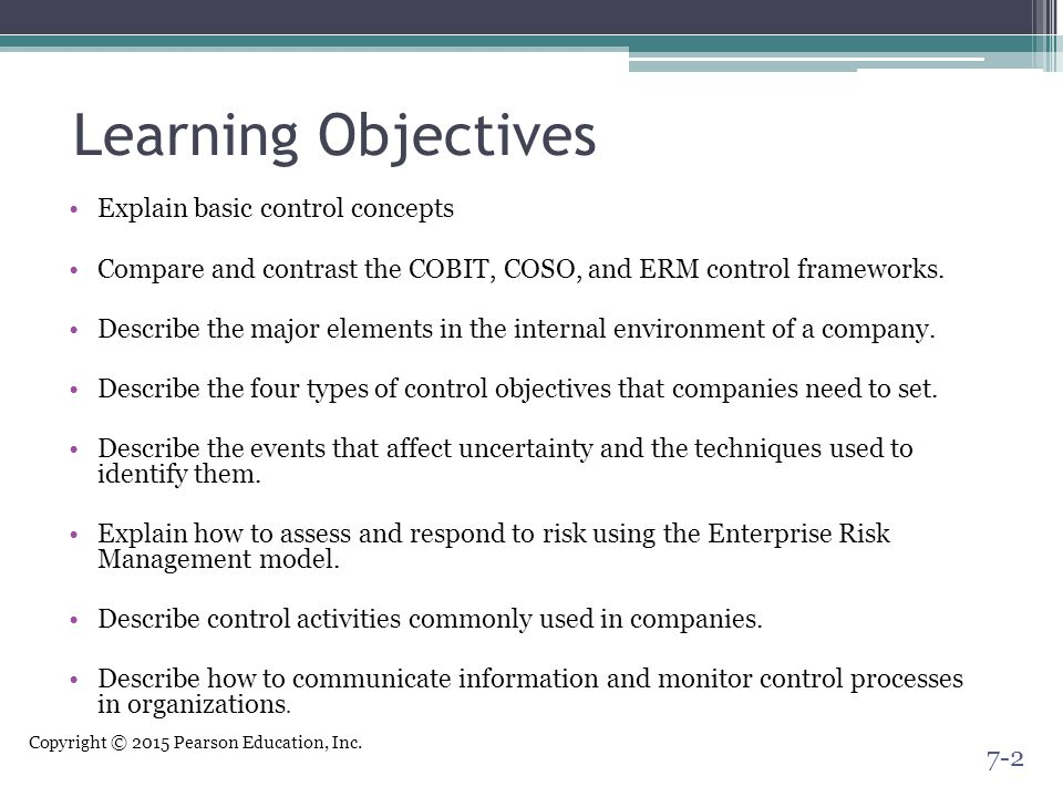 Learning Objectives Explain basic control concepts