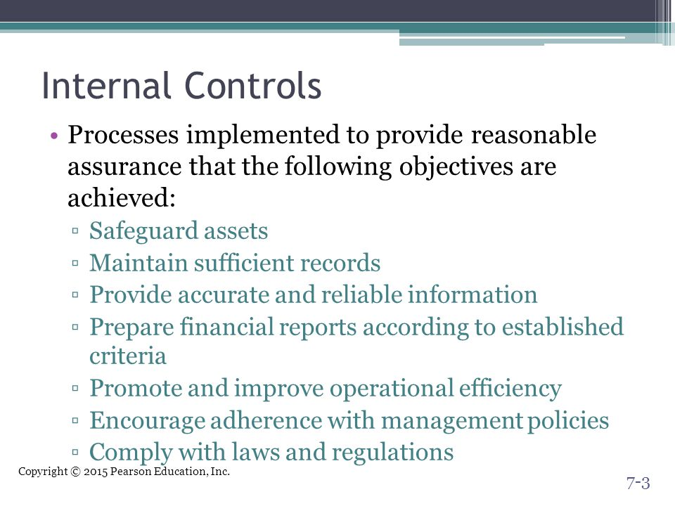 Internal Controls Processes implemented to provide reasonable assurance that the following objectives are achieved: