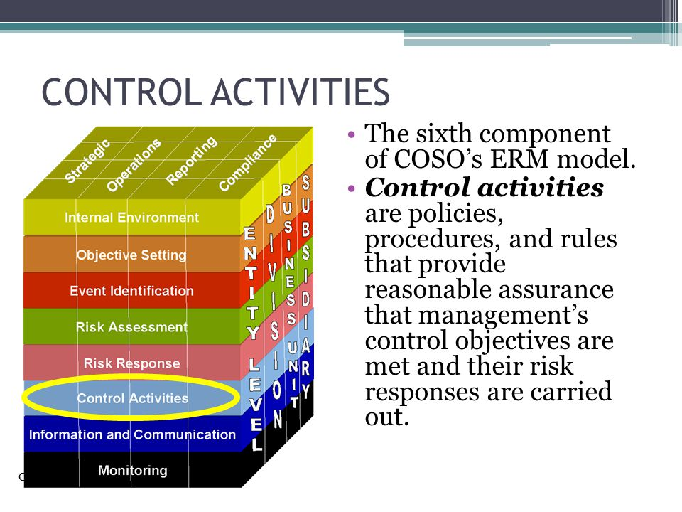 CONTROL ACTIVITIES The sixth component of COSO's ERM model.
