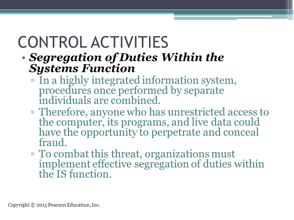 CONTROL ACTIVITIES Segregation of Duties Within the Systems Function