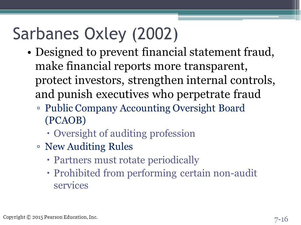 Sarbanes Oxley (2002)