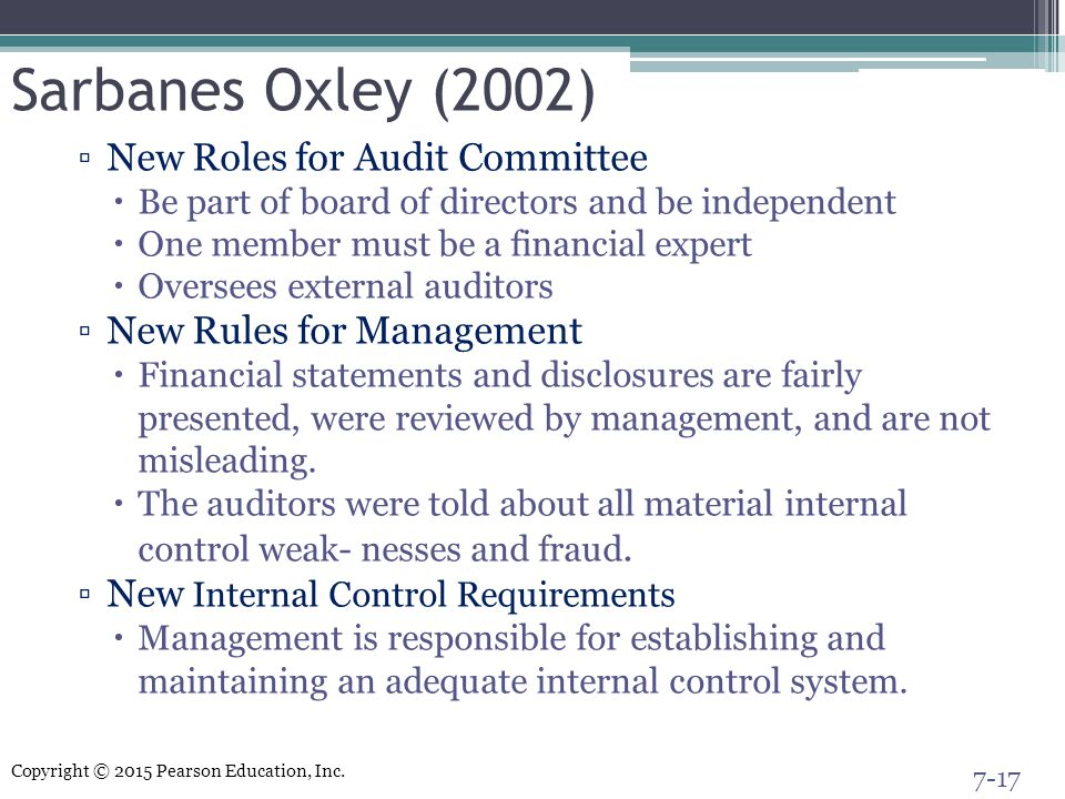 Sarbanes Oxley (2002) New Roles for Audit Committee