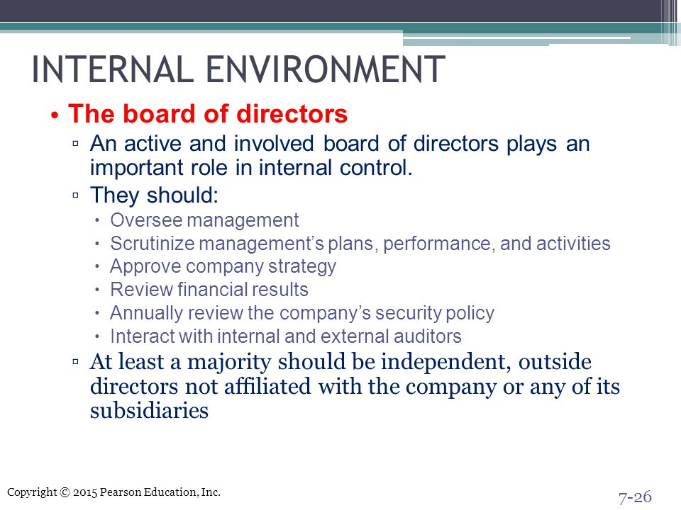 INTERNAL ENVIRONMENT The board of directors