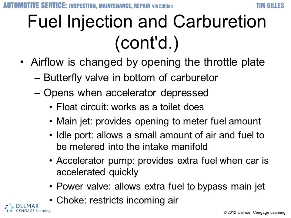 Fuel Injection and Carburetion (cont d.)