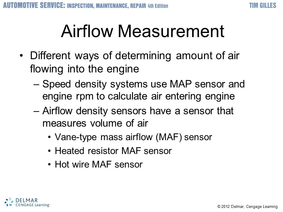 Airflow Measurement Different ways of determining amount of air flowing into the engine.