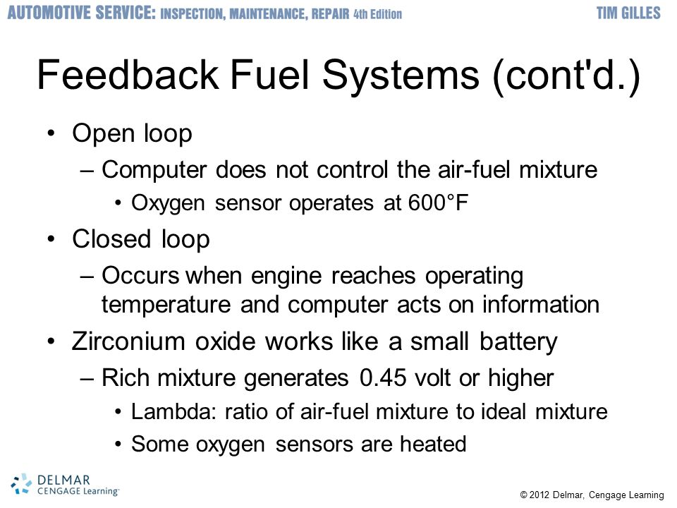 Feedback Fuel Systems (cont d.)