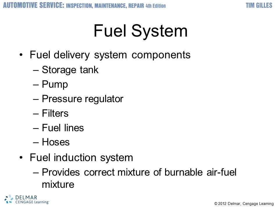Fuel System Fuel delivery system components Fuel induction system