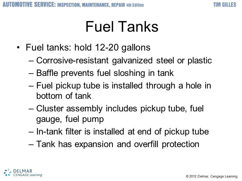 Fuel Tanks Fuel tanks: hold gallons
