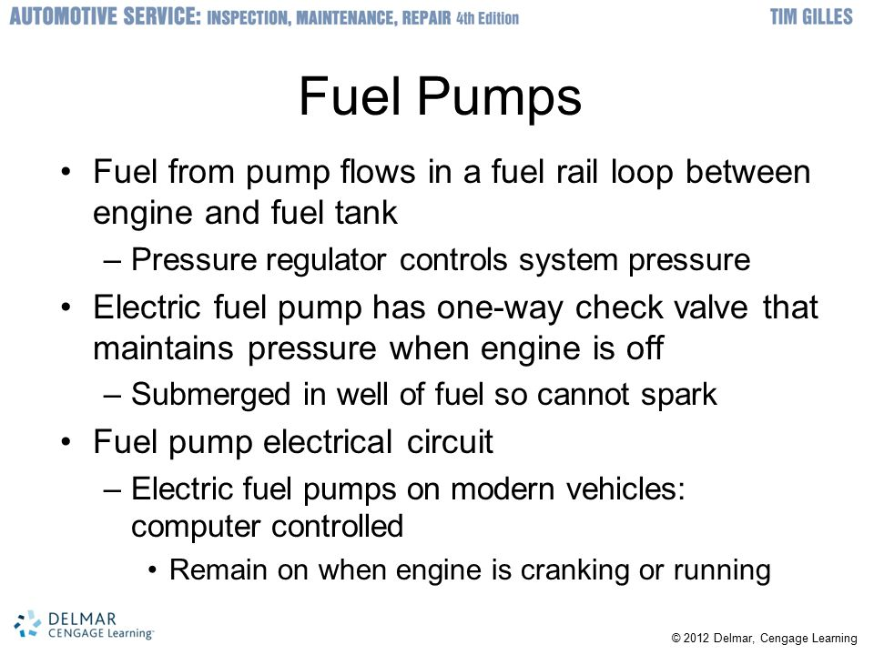Fuel Pumps Fuel from pump flows in a fuel rail loop between engine and fuel tank. Pressure regulator controls system pressure.