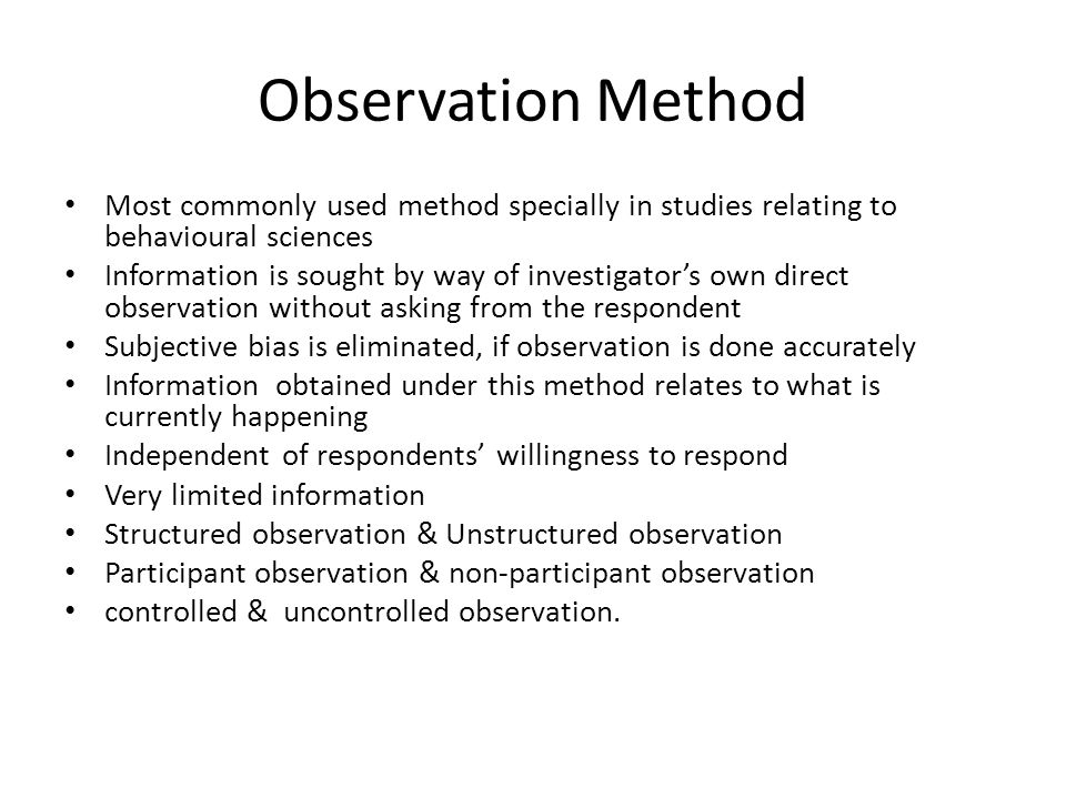 observation method of data collection