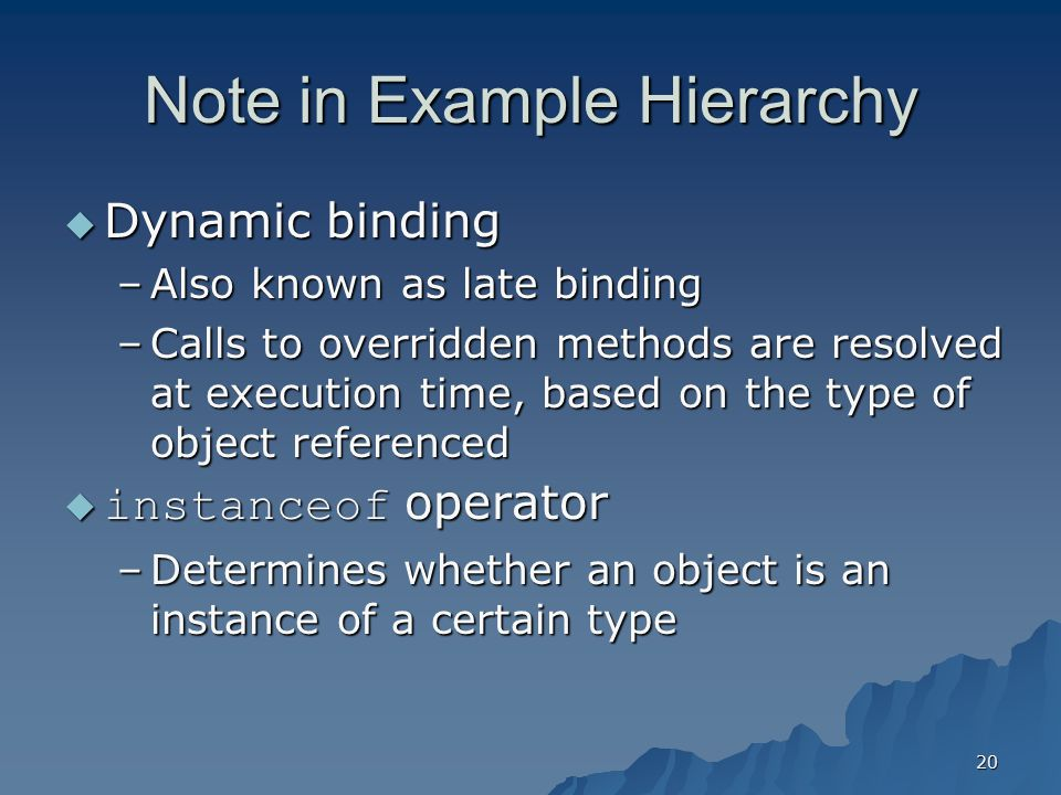 Note in Example Hierarchy