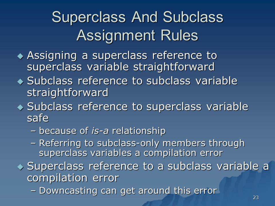 Superclass And Subclass Assignment Rules