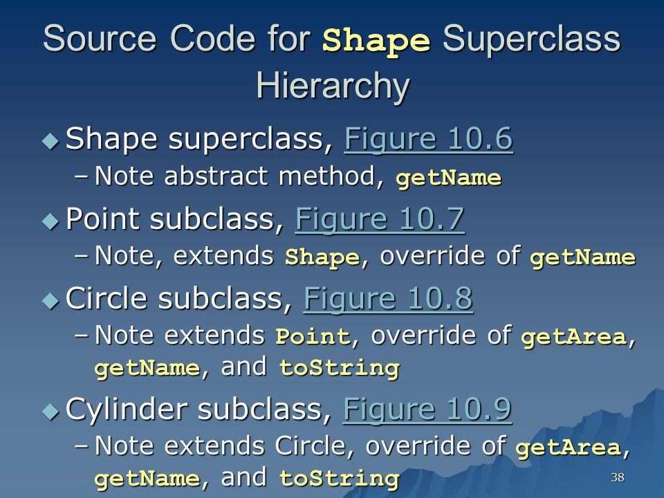 Source Code for Shape Superclass Hierarchy