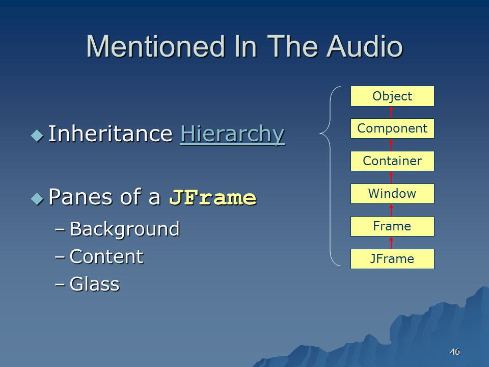 Mentioned In The Audio Inheritance Hierarchy Panes of a JFrame