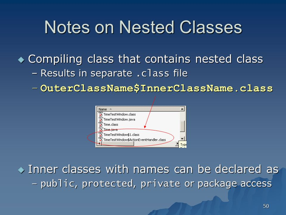 Notes on Nested Classes