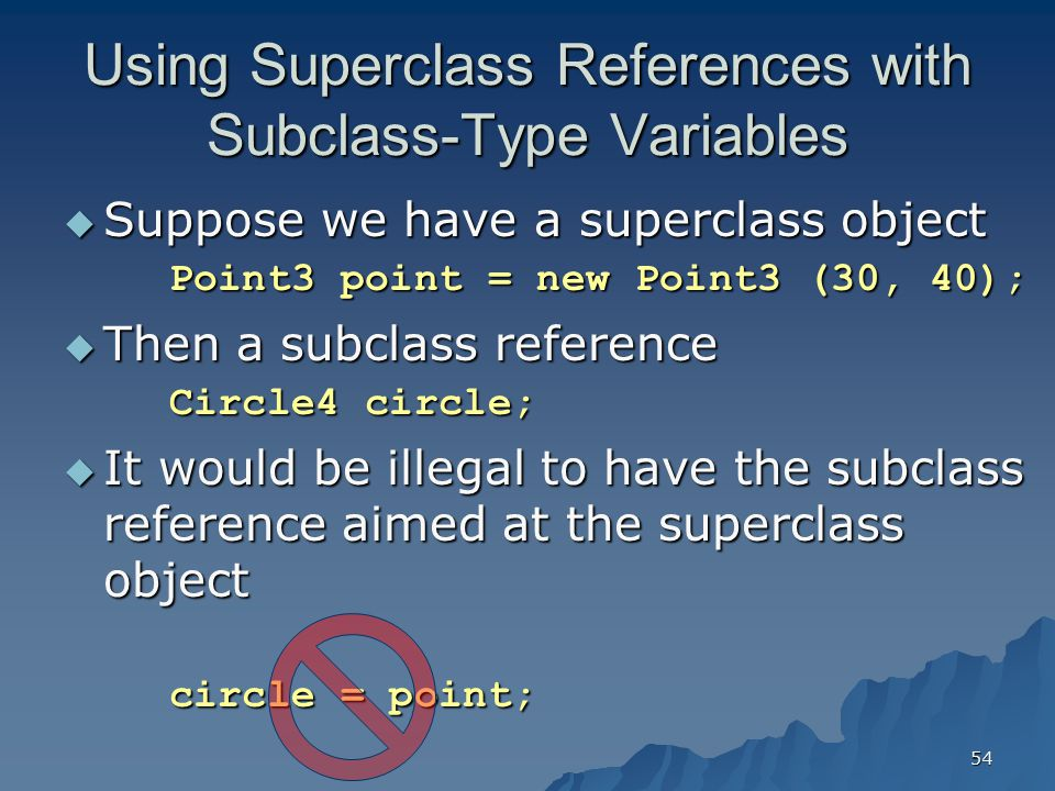 Using Superclass References with Subclass-Type Variables