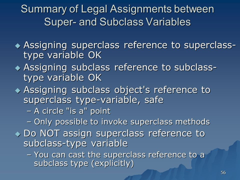 Summary of Legal Assignments between Super- and Subclass Variables