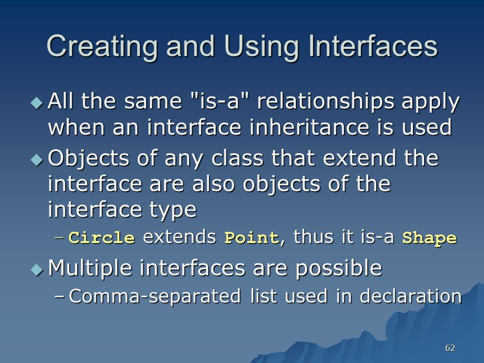 Creating and Using Interfaces