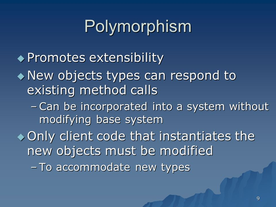 Polymorphism Promotes extensibility