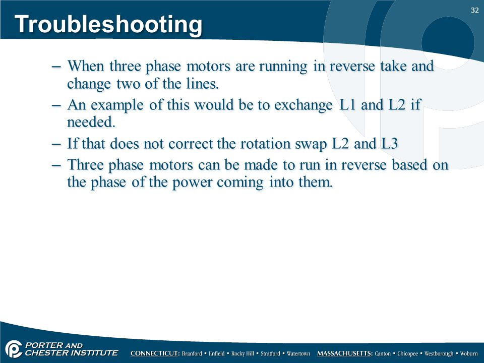 32 Troubleshooting When three phase motors ...
