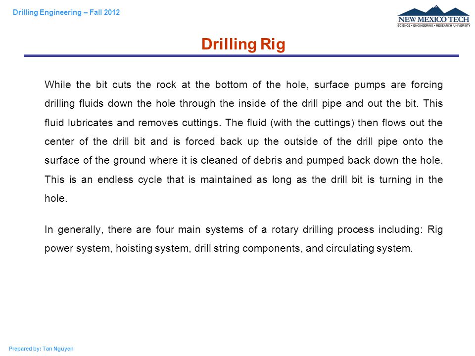 Drilling Engineering – PE 311 Rotary Drilling System - ppt