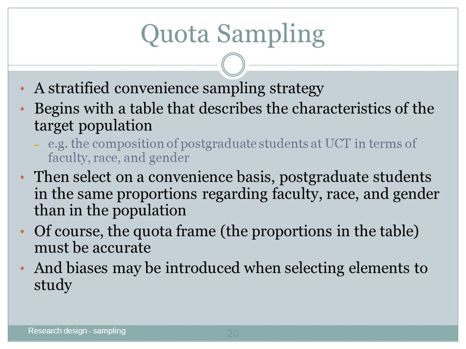 Quota Sampling A stratified convenience sampling strategy