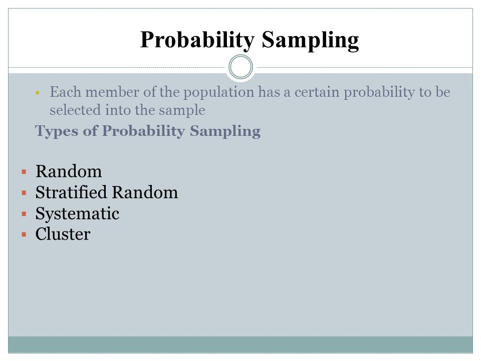 Probability Sampling Random Stratified Random Systematic Cluster