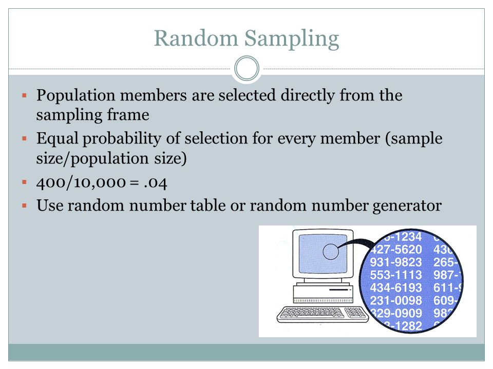 Random Sampling Population members are selected directly from the sampling frame.