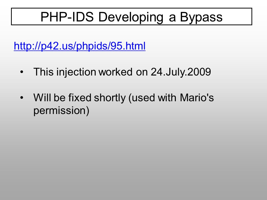 PHP-IDS Developing a Bypass