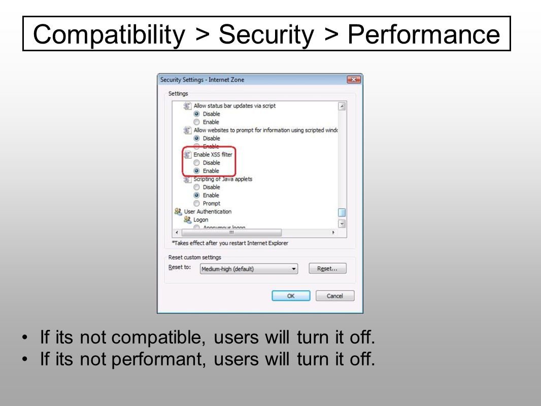 Compatibility > Security > Performance